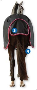Parts of Horse blankets. 3. tail flap 4. leg straps